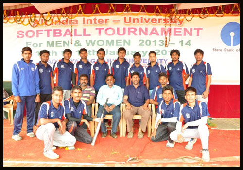JNTU All India Inter University Softball team with coach Mr. M. Srinivas Reddy(P.D. VBIT)